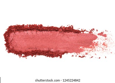 red crumbled eye shadow isolated on white background.