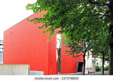 Red cube building in Locarno Museum of modern art
