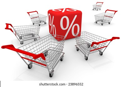 Red cube with symbol of percent and shopping carts