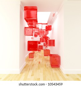 Red cubes floating in the middle of a corridor