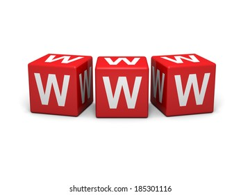 Red cubes with word wide web sign on a white background