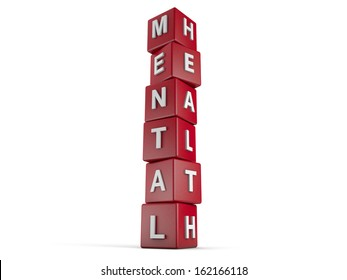red cubes with the words Mental Health on it.