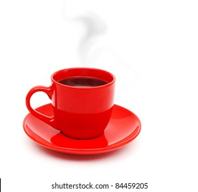 red cup of black coffee white background red mug