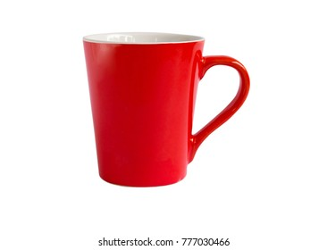 Red Cup of coffee or tea isolated on white background. Empty red cup with clipping path.