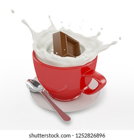 Red cup full of milk with cocolate cube splashing. With saucer and spoon. On white background.