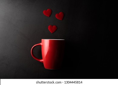Red cup with heart, valentine's day concept