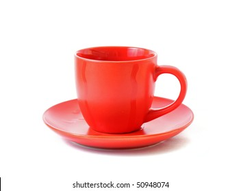 Red cup isolated on white background