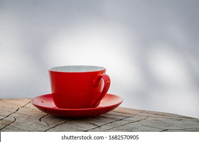 Red cup on white  abstract background