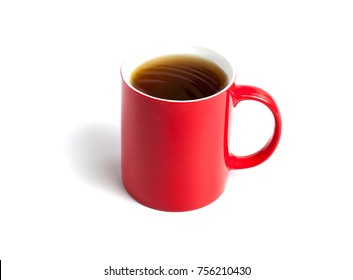 Red cup of tea on white background
