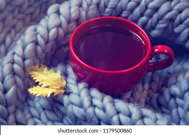Red cup of tea and wool blanket