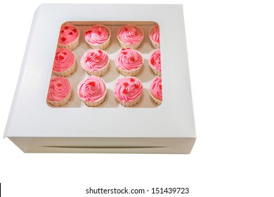 Red cupcakes in a delivery box
