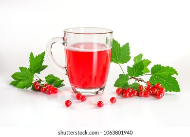 red currant drink and berries isolated on white background