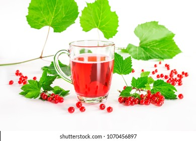 red currant drink and berries isolated on white.