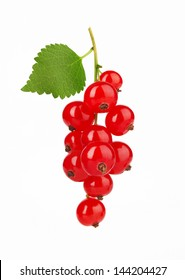 Red Currant with leaf, isolated on white background