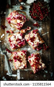 red currants and hazelnuts bars .style rustic.selective focus