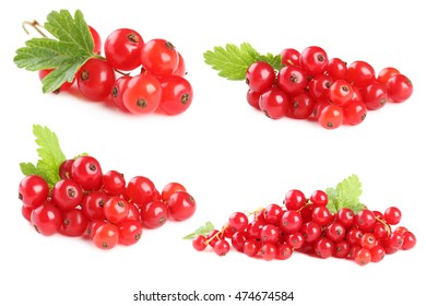 Red currants isolated on a white