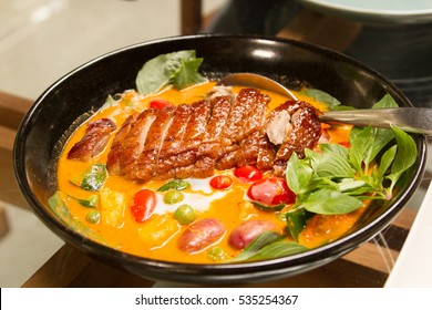 Red curry with roast duck. Thai food