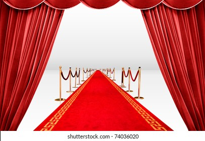 Red curtain with infinite carpet