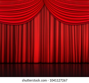 Red curtain with reflection on floor - background, Interior template for product display