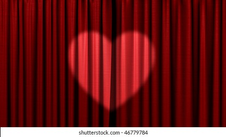 red curtain with spotlight as heart