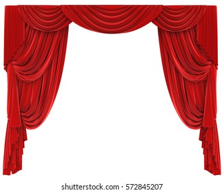 Red Curtains Isolated. 3D rendering