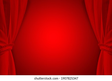 Red curtains on a red background