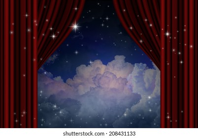 Red curtains on theater with cloud and stars.