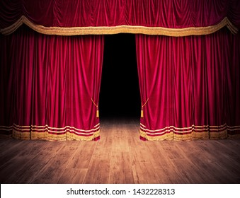 The red curtains are opening for the theater show - Shutterstock ID 1432228313