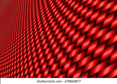 red curve carbon fiber on the black shadow. car accessories.  background and texture. 3d illustration.