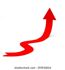 Red curving rising arrow on isolated white background