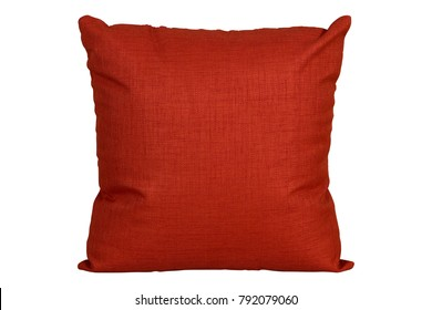 red cushion on white background, isolated