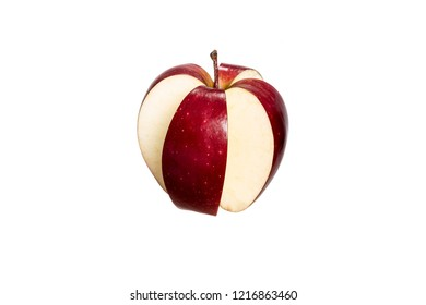 Red cut four part  apple isolated on a white background. Conceptual image whit red apple.