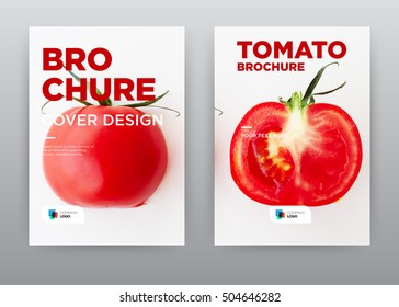 Red Cut Tomato on white background vegetable Food Kitchen Trend annual report journal magazine banner poster brochure flyer design template, Leaflet cover abstract flat, layout in A4 size