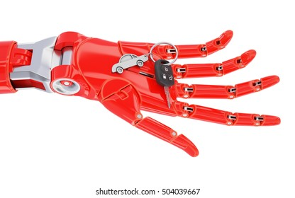 Red Cyborg Hand with Car Keys Isolated on White 3d Illustration