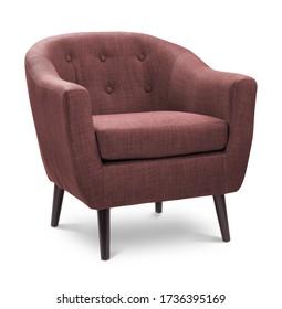 Der Sessel ist rot und dunkel. Moderner Designstuhl auf weißem Hintergrund. Textilstuhl.