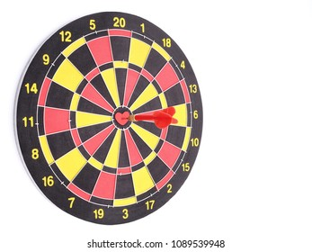 Heart bullseye images stock photos vectors shutterstock a red dart arrow hitting on center at bullseye of dartboard which is heart shaped isolated altavistaventures Images