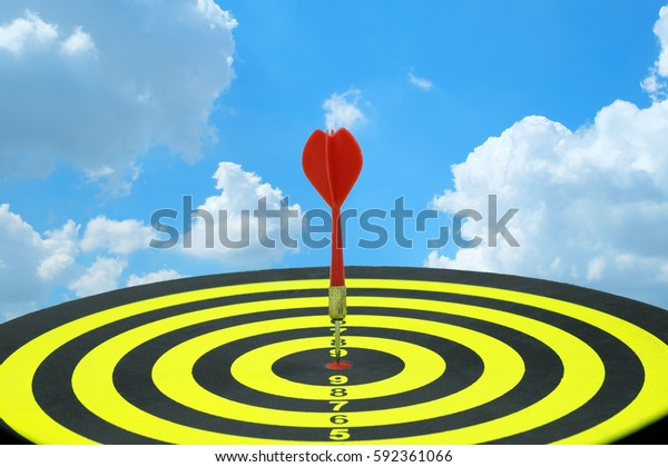 Arrow Vision Center >> Red Dart Arrow Hitting Target Center Stock Image Download Now