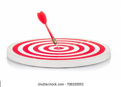 Red dart hit on center of target board isoated on white background