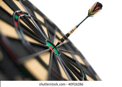red dart on bullseye isolated on white background