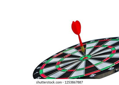 Red Darts hitting center on Dartboard isolated on white background, Business investment that rely on precision away be alert to success so game,