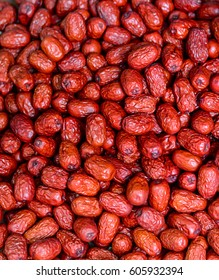 Red date (Chinese date) dried fruits for sale at the Chinese market.