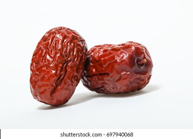 Red date, jujube, dried Chinese date isolated on white background