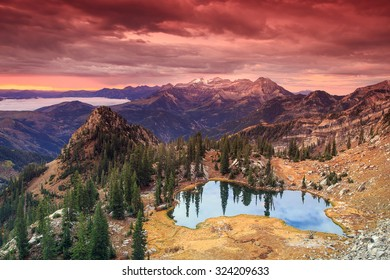 Red dawn sky above the Wasatch Mountains, Utah, USA.