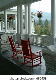 red deck chairs