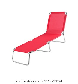 Red deckchair isolated on a white background