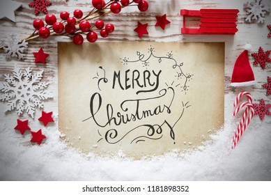 Red Decoration, Calligraphy Text Merry Christmas, Snow