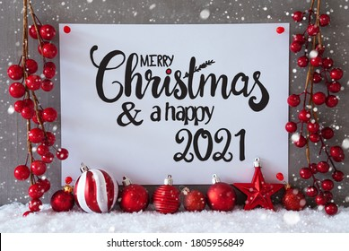 Red Decoration, Sign, Snow, Snowflakes, Merry Christmas And Happy 2021