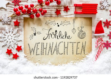 Red Decoration, Snow, Calligraphy Froehliche Weihnachten Means Merry Christmas