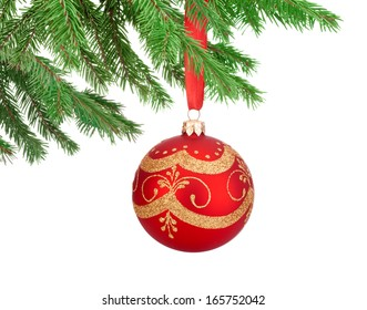 Red decorations Christmas ball hanging on a fir tree branch Isolated on white background