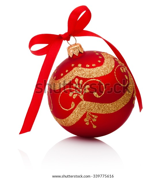 Red decorations Christmas ball with ribbon bow Isolated on white background